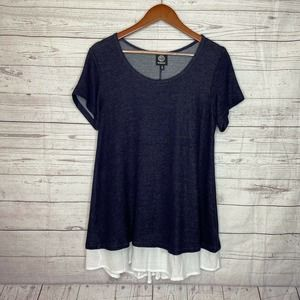 Bobeau Two In One Fooler Top Short Sleeve Blue Button Tunic Top Blouse SZ M
